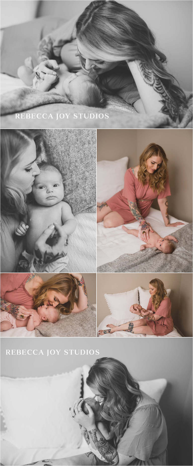 Mother kissing baby on the head in newborn photographer Victoria studio